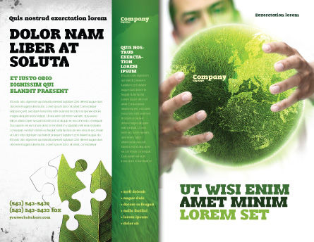 Green World in Human Hands Brochure Template, Outer Page, 06955, Nature & Environment — PoweredTemplate.com