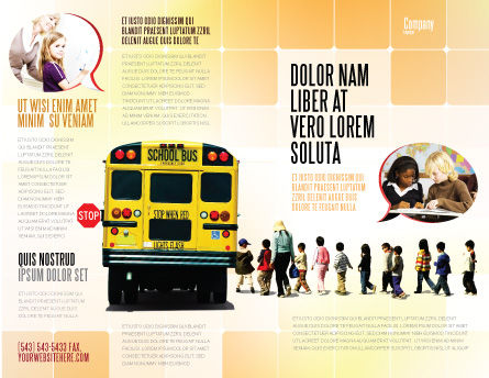 School Bus Stop Brochure Template, Outer Page, 06967, Education & Training — PoweredTemplate.com