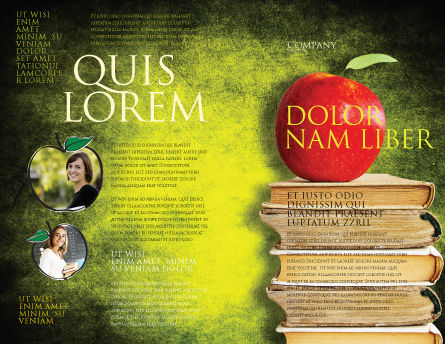 Apple and Books Brochure Template Outer Page