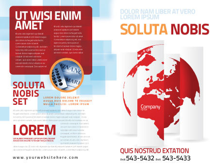 Fragmented World Map Brochure Template, Outer Page, 07090, Global — PoweredTemplate.com