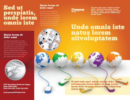 Connected to World Brochure Template, Outer Page, 07240, Technology, Science & Computers — PoweredTemplate.com