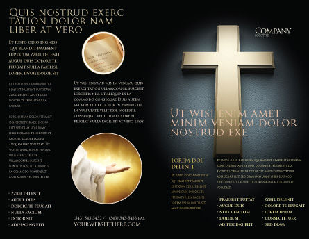Cross In The Dark Brochure Template, Outer Page, 07291, Religious/Spiritual — PoweredTemplate.com