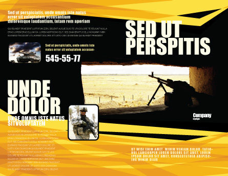 Machine Gun Brochure Template, Outer Page, 07308, Military — PoweredTemplate.com