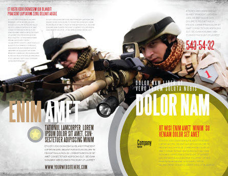 Soldiers In Iraq Brochure Template, Outer Page, 07321, Military — PoweredTemplate.com