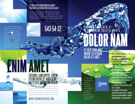 Blue Water Brochure Template, Outer Page, 07546, Nature & Environment — PoweredTemplate.com