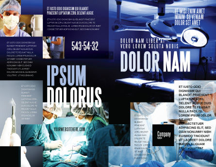 Operation Room In Dark Blue Brochure Template, Outer Page, 07560, Medical — PoweredTemplate.com