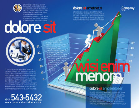 Rising Rates 3D Histogram Brochure Template, Outer Page, 07652, Business Concepts — PoweredTemplate.com