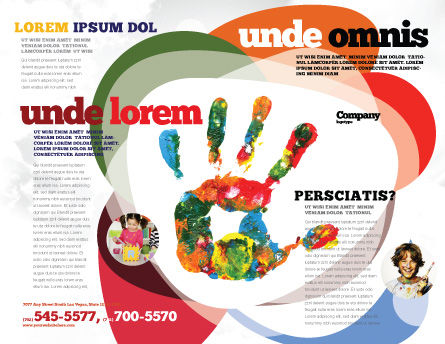 Colorful Hand Print Brochure Template, Outer Page, 07840, Education & Training — PoweredTemplate.com