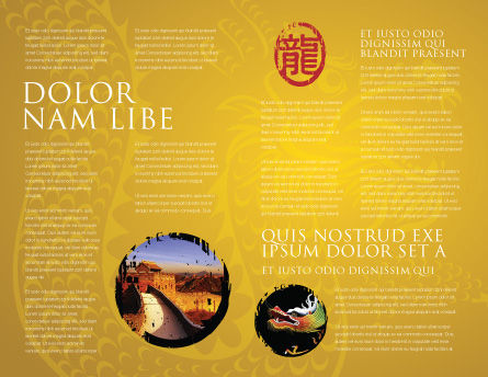 Chinese Dragon Brochure Template, Inner Page, 07985, Holiday/Special Occasion — PoweredTemplate.com