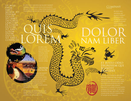 Chinese Dragon Brochure Template Outer Page