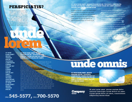 Solar Panels In Blue Colors Brochure Template, Outer Page, 08112, Technology, Science & Computers — PoweredTemplate.com