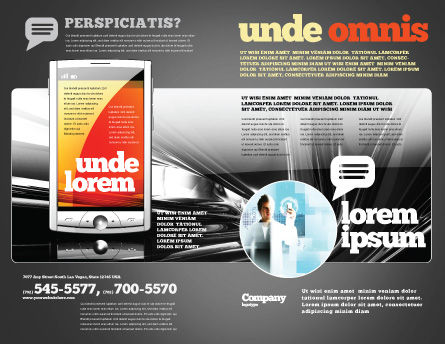 Touchscreen Phone Brochure Template, Outer Page, 08125, Technology, Science & Computers — PoweredTemplate.com