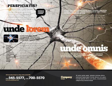 Neurons Networks Brochure Template, Outer Page, 08156, Medical — PoweredTemplate.com