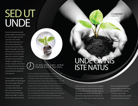 Sprout In Hands Brochure Template, Outer Page, 08162, Agriculture and Animals — PoweredTemplate.com