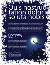Holiday/Special Occasion: Santa's Sleigh On The Background Of The Moon Flyer Template #02850