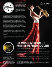 Art & Entertainment: Jazz Saxophone in Girl's Lips Flyer Template #03071