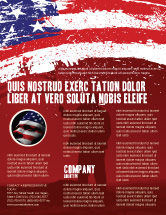 America: Torn Flag Flyer Template #03827