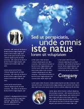 Global: Wide world blue map Flyer Vorlage #04050