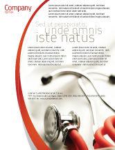 Medical: Plantilla de volante - phonendoscope en un color rojo gris #04712
