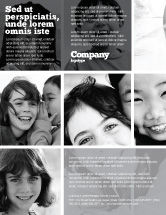 People: Kids In Black And White Colors Flyer Template #05591