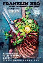 Food & Beverage: Modelo de Folheto - restaurante churrasco #08432