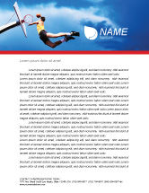 Sports: Flying Basketballer Letterhead Template #01713
