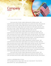Flags/International: USA Flag Letterhead Template #02329