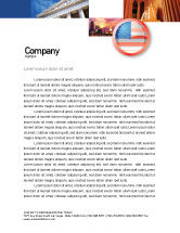 Flags/International: US Flag Letterhead Template #02905