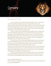 Agriculture and Animals: Lion With Red Mane Letterhead Template #03428