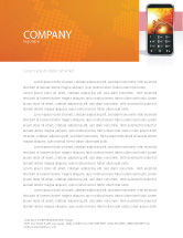 Telecommunication: Cellular Phone In Orange Colors Letterhead Template #04021