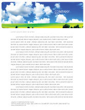Nature & Environment: Zonnig Landschap Briefpapier Template #04863