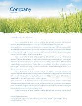Nature & Environment: Green Grass Under Blue Sky Letterhead Template #04885