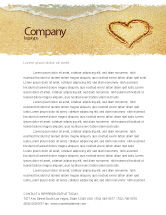 Holiday/Special Occasion: Heart On Sand Letterhead Template #04969