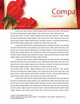 Holiday/Special Occasion: Red Roses Card Letterhead Template #05207