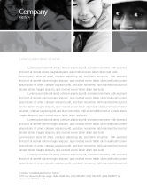 People: Kids In Black And White Colors Letterhead Template #05591