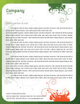 Art & Entertainment: Green Background With White Vegetative Decor Letterhead Template #05621