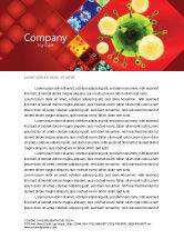 Technology, Science & Computers: Green Virus On A Red Background Letterhead Template #05936