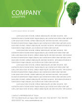 Technology, Science & Computers: Green Eco Lamp Letterhead Template #06530