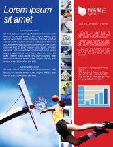 Sports: Flying Basketballer Newsletter Template #01713