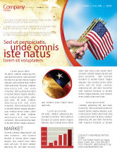 Flags/International: USA Flag Newsletter Template #02329