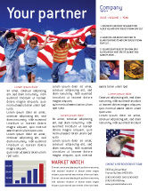America: Children Of The USA Newsletter Template #02377