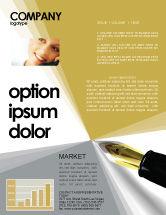 Business: Fountain Pen On The Light Gold Newsletter Template #02862