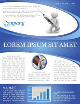 Medical: Stickman With Syringe Newsletter Template #03199