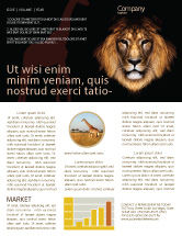 Agriculture and Animals: Lion With Red Mane Newsletter Template #03428