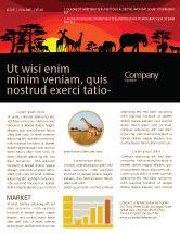 Nature & Environment: Modèle de Newsletter de le coucher du soleil de savanna #04012