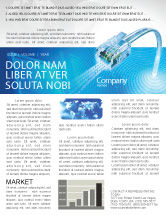 Telecommunication: Patch Cord In Blue Colors Newsletter Template #05058
