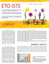 Holiday/Special Occasion: Plantilla de boletín informativo - flores de la ventana #05278