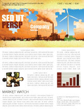 Nature & Environment: Wind Energy Versus Coal Plant Newsletter Template #05385