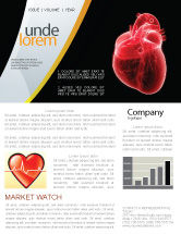Medical: Model Of Heart Newsletter Template #07662