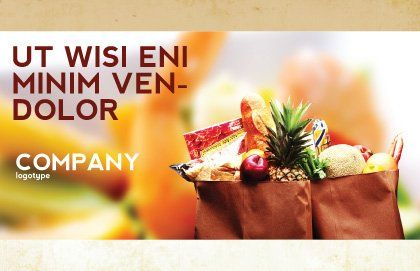 Grocery Bag Postcard Template, Outer Page, 00972, Food & Beverage — PoweredTemplate.com